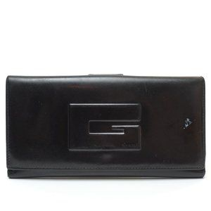 Auth Gucci Long Wallet Black Leather #6407G30